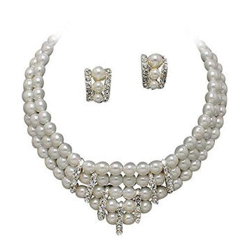 Statement Necklace With Faux White Pearl and Rhinestone With Clip On Earrings Bridal Necklace AA1