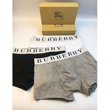 Burberry Fashionable Men Comfortable Cotton Briefs Three Piece