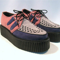 Vintage Pink/Purple/Gray Suede Lace Front Creepers Wms size 8
