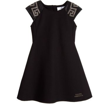 Versace Girls Black Studded Greca Dress