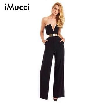 Black White Women's Strapless Flare Bodysuit Overalls Slim Pants Deep V Neck Lady Jumpsuit Rompers Sleeveless Woman Playsuit