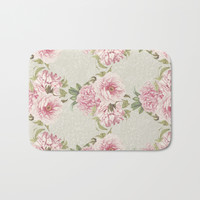 pink peony pattern Bath Mat by sylviacookphotography