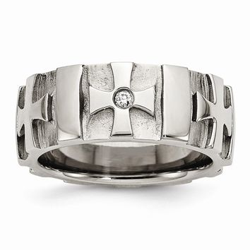 Men's Stainless Steel Crosses with Diamond Brushed & Polished Wedding Band Ring