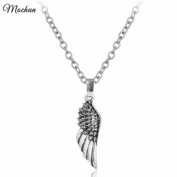 MQCHUN Fashion Jewellery Angel Wings Supernatural Chain Choker Necklace Steampunk Gothic Friendship Feather Vintage Silver Color