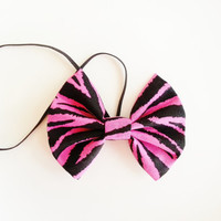Pink and Black Zebra Headband, Small Hairbow Headband, Toddler Headband, Baby Headband, Spring Headband