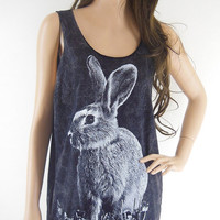 Rabbit Bunny Animal Style Unisex T-Shirt  Rabbit Tank Top Animal Shirt Bleach Black Tunic Screen Print Size M