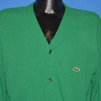 70s Izod Lacoste Green Cardigan Sweater Medium