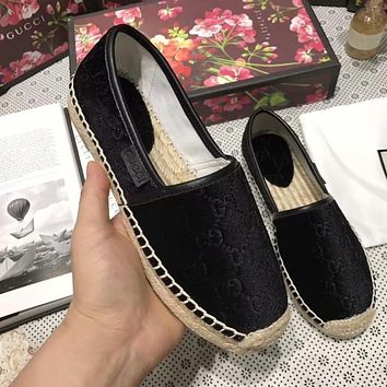 GUCCI Multicolor Trending Women Stylish Slip-On Flat Shoes Single Shoe Fisherman Shoes Black I-ALS-XZ