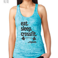 Fitness & Exercise Clothing - Eat Sleep Crossfit Repeat Burnout Racerback Tank - Ladies