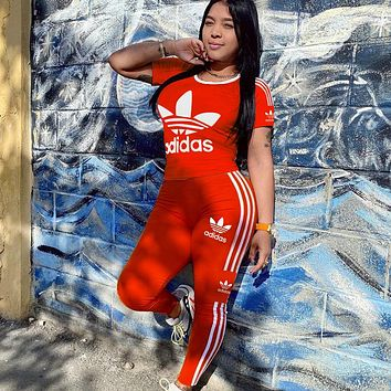 ADIDAS New women's leisure sports two-piece suit red