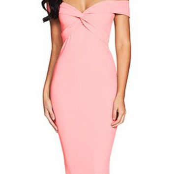 Pink Off Shoulder Twist Front Midi Formal Dress