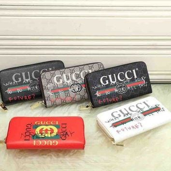 Gucci Women Leather Zipper Wallet Purse