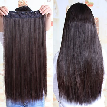 Fashion Party Women Girl Black Long Straight Full Hair Wigs Extension hair  #L04719