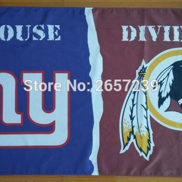 NY Giants Washington Redskins House Divided Flag 3x5FT NFL banner 150X90CM 100D Polyester brass grommets custom66 Flag