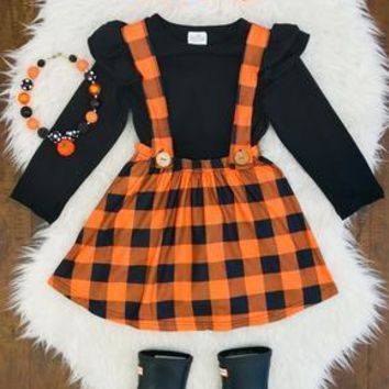 ORANGE & BLACK PLAID SUSPENDER SKIRT SET