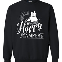 Happy camper sweatshirt camp camping hiking sweatshirt funny  camp lover