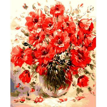 1PC DIY Oil Painting By Numbers Abstract Red Flowers Wall Pictures For Living Room Vintage Home Decor Coloring By Numbers