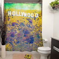Hollywood Printed Shower Curtain, Bathroom Decor, Home Decor, Curtain, California Photography, Vintage, Hollywood Sign, Los Angeles, Pastels