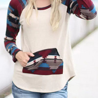 Multicolor Paneled Patch Front Pocket Tee