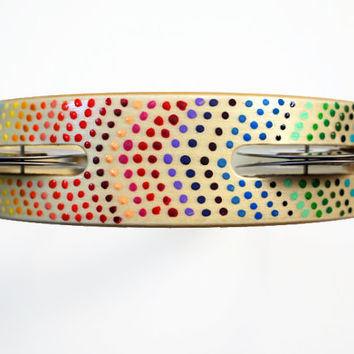 Hand Painted Rainbow Ombre Dotted Tambourine