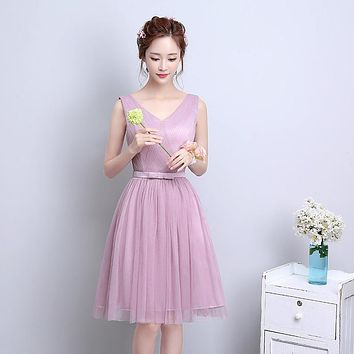 ZX-F2D#The new spring summer 2017 Off collar short bride wedding bridesmaid dresses Many colors in champagne pink and violet