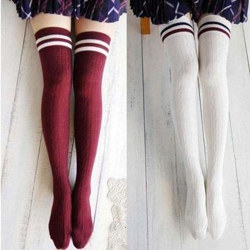 CREYXF7 Women New Girls Cotton Knit Over Knee Thigh Stockings High Socks Hosiery Tights