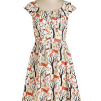 Woodland Creature Long Cap Sleeves A-line Greenhouse Gallivant Dress in Forest