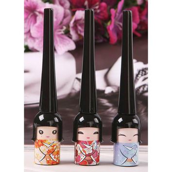 JEYL 2X Cute Japanese Doll Waterproof Black Liquid Eyeliner Pen Makeup Cosmetic