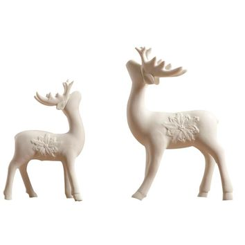 White Ceramic Deer Figuriens Household Decor  Eoupen Style Ceramic Elk Crafts Office Miniature Dollhouse Bonsai Deers Statues
