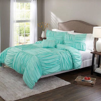 Better Homes And Gardens Basketweave Ruched Bedding Comforter Cover Set