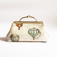 Hot Air Balloon Clutch Bag, Women Wallet, Frame Purse Bag, Kisslock Bag Japanese Fabric, Bridesmaid Gift
