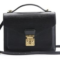 LOUIS VUITTON Black Epi Leather Monceau Bag w Strap - Louis Vuitton - Brands | Portero Luxury