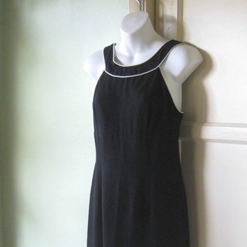 XS-Small, Minimalist Black Maxi Dress; White Trim -  Bare Shoulder, Roman Neckline Black 1980s Upscale Cocktail Party Maxi Sheath