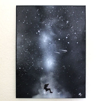 Space Art - Girl Silhouette Art Swing Black and White - Stars - Paintings on Canvas - Wall Art - Custom Painting - Spray Paint Art
