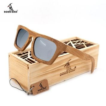 BOBO BIRD Womens Wood Bamboo Polarized Sunglasses Colorful Coating Mirrored