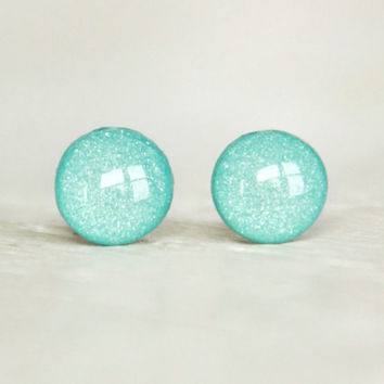TIFFANY BLUE - Stud Earrings - Small Round Earrings in Shimmer Tiffany Blue - Summer Spring Wedding Earrings by EarSugar
