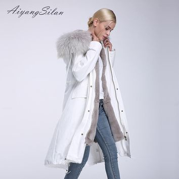 AiyangSilan Real fur coat Rex Rabbit Fur Liner Coat Natural Raccoon Fur Collar lady Parkas real fur White coat Winter Long Parka
