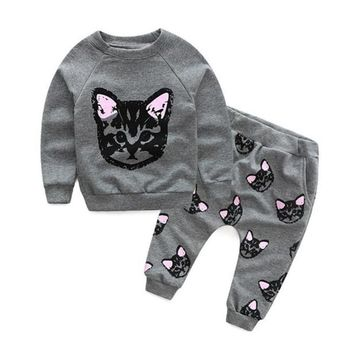 Winter Girl Clothing Set Long Sleeve Tops Sweatshirt with Hoodie and Pants 2pcs Cute Kids Outfits Clothes Cats Printed