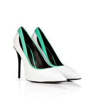 Giuseppe Zanotti - Leather Pointy-Toe Pumps with Contrast Trim