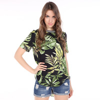 Tropical Plants Printed Short Sleeve Loose Long Shirt