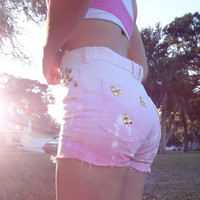 Custom Ombre Pink Dyed Studded Denim High Waisted Shorts
