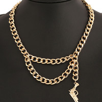 Golden Gun Shape Drop Chain Necklace