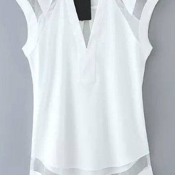White V Neck Mesh Sleeveless Blouse