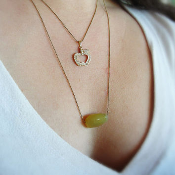 Gold Apple Necklace Vintage Rhinestoned Apple Gift for Teachers Back to School