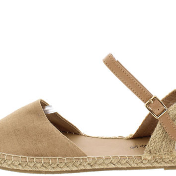 Costa Striped Espadrille Flats - Nude/Natural