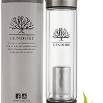 UEndure Tea Infuser - Tea Tumbler Tea Cup with Loose Leaf Tea Strainer – Travel Teapot - Glass Water Bottle - 14 ounces