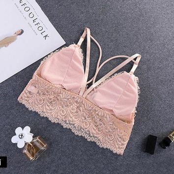 Women Floral Cami Padded Tank Tops Beauty Lady Back Strap Vest Top Brassiere Young Girl Lace Bralette Bra 2018 New Arrival