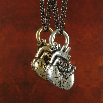 "Anatomical Heart Necklaces - Small Size -  Antique Silver & Bronze Small Anatomical Heart Pendants on 24"" Gunmetal Chain - Valentines Day"