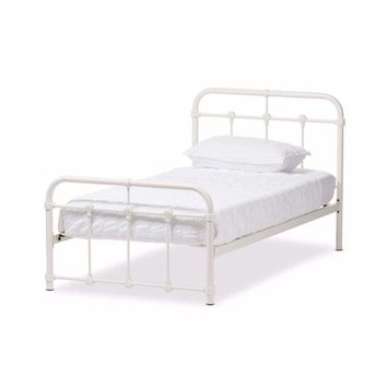Mandy Vintage Industrial White Finished Metal Twin Size Platform Bed By Baxton Studio