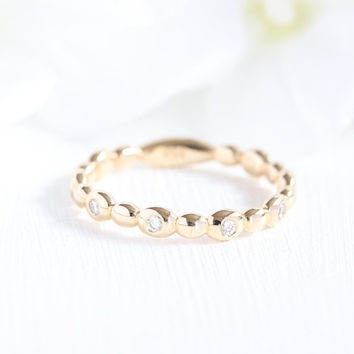 Pebble Diamond Wedding Ring in 14k Yellow Gold Women Wedding Band Stacking Ring Diamond Anniversary Ring (Bridal Ring Set Available)